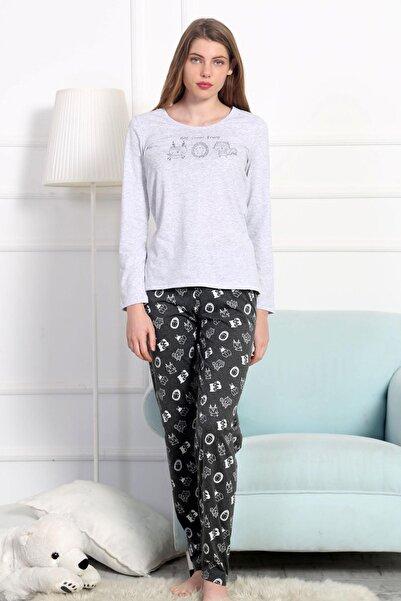 Y-London Kadın Gri Melanj Uzun Kol Tişört Pantolon Pijama Takımı