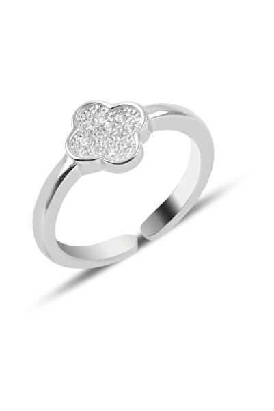Silverella Kadın Gümüş 925 Ayar Zirkon Taşlı Yonca Yüzüğü