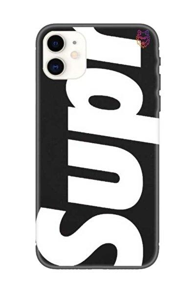 Wolf Dizayn Iphone 11 - Siyah Silikon Kılıf - Supreme
