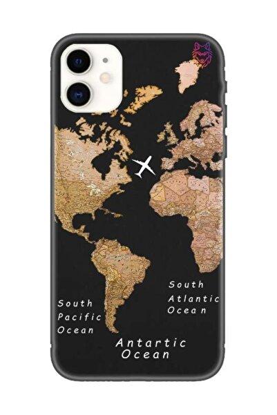 Wolf Dizayn Iphone 11 - Siyah Silikon Kılıf - Old Map