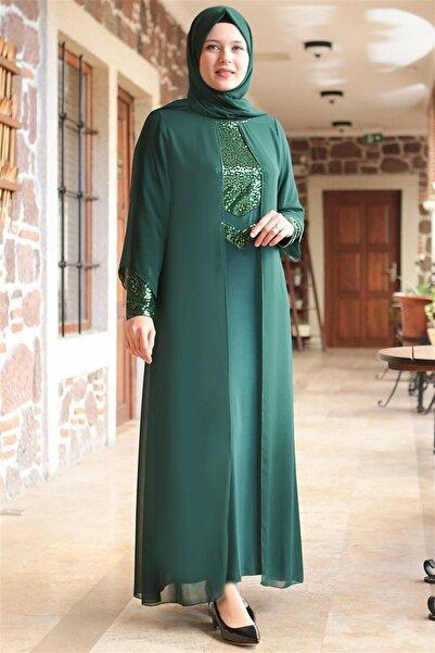 Fahima Abiye  Elbise - Zümrüt - Fhm640
