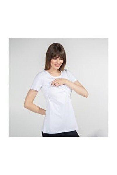 Kadın Beyaz Bisiklet Yaka Emzirme T-Shirt