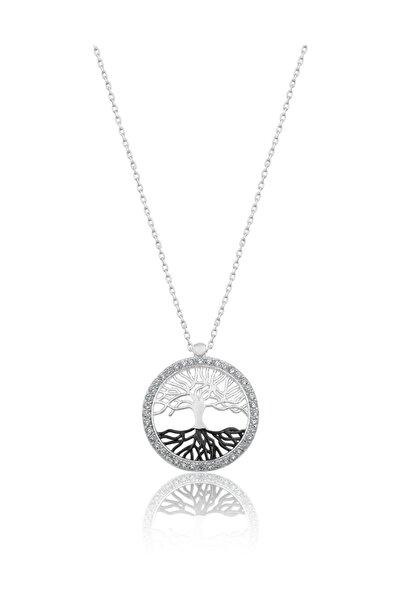 Papatya Silver 14 Ayar Beyaz Altın Hayat Ağacı Kolye Auvps100086