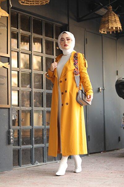 kadın  Kol Kemerli Tesettür Trenç Hardal 5069-2