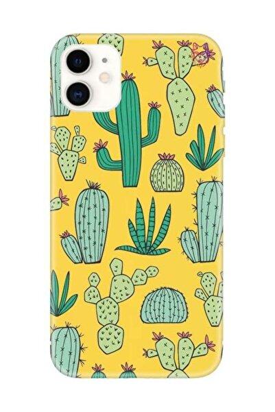 Wolf Dizayn Iphone 11 - Sarı Silikon Kılıf - Kaktüs 2