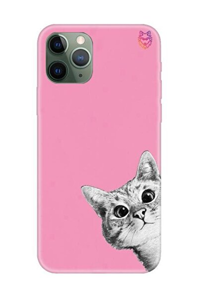 Wolf Dizayn Iphone 11 Pro - Pembe Silikon Kılıf - Kedili