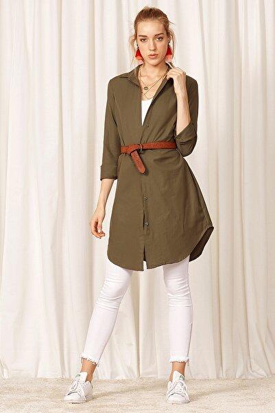 Eka Kadın Önü Düğmeli Uzun Kol Tunik Gömlek