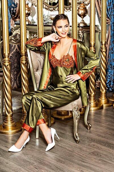 SWEET NİGHT LİNGERİE Pijama Takımı Saten Haki