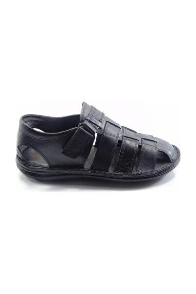 Venuma 0370 Siyah Önü Kapalı Deri Anatomic Erkek Sandalet