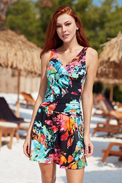 Pierre Cardin Kadın Kalın Askılı Kruvaze Elbise Mayo 201167 Desenli