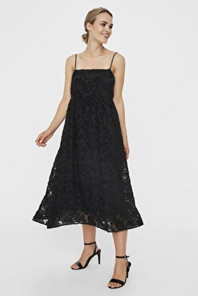 Kadın Siyah Siyah İnce Askılı Dantelli Kare Yaka Elbise 10226655 VMKAYA