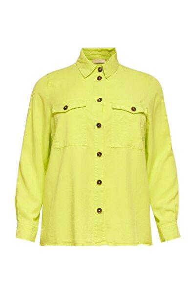 Only Kadın Evening Primrose Büyük Beden Sarı Lyocell Gömlek 15197521 CARSTELLO 15197521