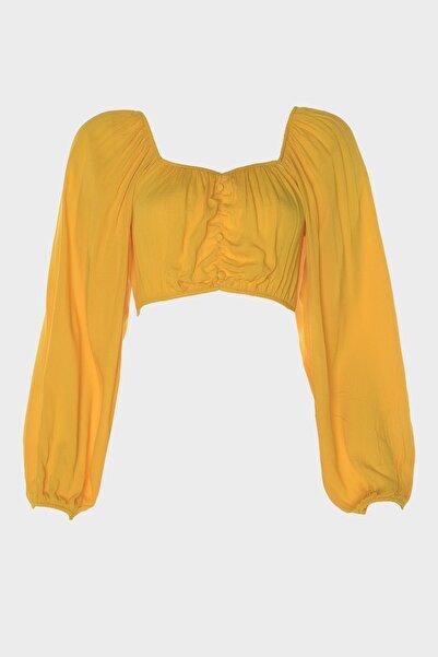 TRENDYOLMİLLA Hardal Düğme Detaylı Viskon Bluz TBESS20BZ0751