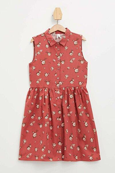 Kız Çocuk Baskılı Düğmeli Kolsuz Dokuma Elbise