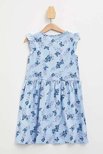 Baskılı Fırfır Detaylı Örme Elbise