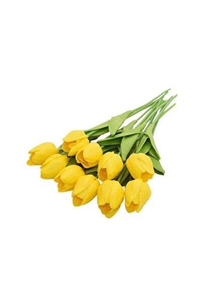 Nettenevime Yapay Çiçek Islak Lale Gerçeksi Doku 10lu Sarı