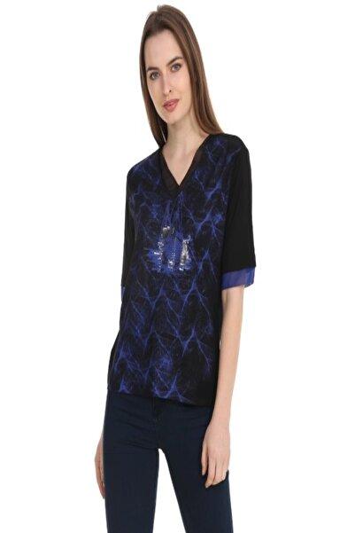 Solo Kadın Viskoz Lacivert Bluz Yelek Baskılı T-shirt