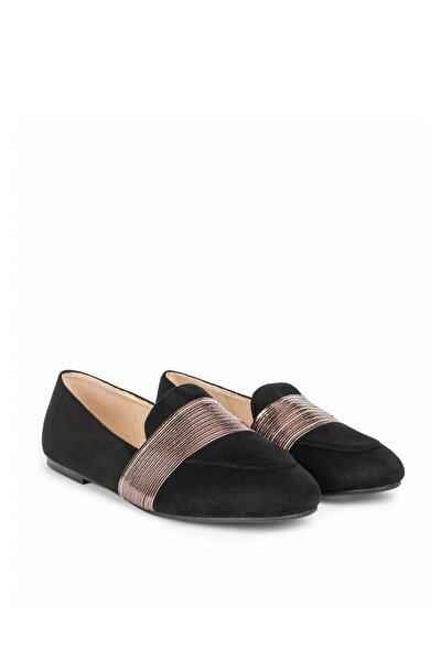 Kadın Siyah Rugan Geçişli Düz Ayakkabı IS1200030011001