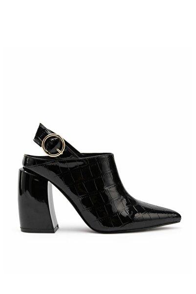 Kadın Siyah Rugan Topuklu Sandalet IW6190031008001