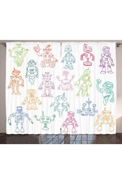 Orange Venue Çocuklar Için Perde Rengarenk Robotlar