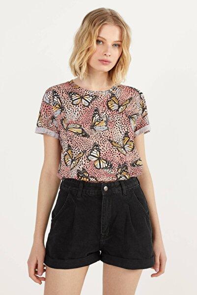 Kadın Pembe/Siyah Kısa Kollu T-Shirt 02428443