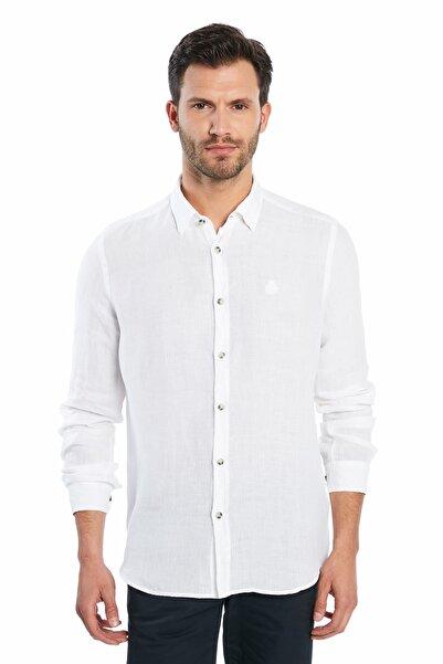 Ruck & Maul Erkek Casual Keten Gömlek - White S20M0220Y1201