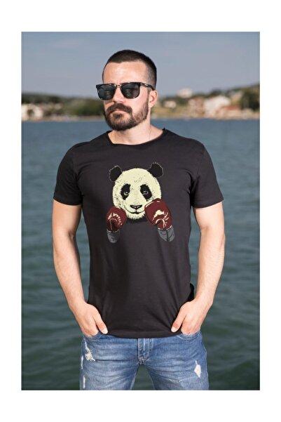 Wear Boksör Panda Pamuklu Siyah Erkek Tişört
