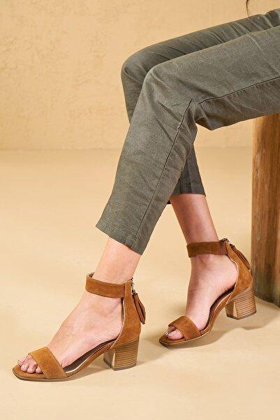 Louis Cardy Clea  Taba  Hakiki Süet Kadın Klasik Topuklu Ayakkabı
