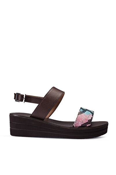 Deery Hakiki Deri Mavi Kroko Kadın Sandalet