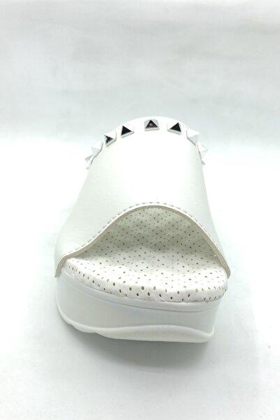 Pierre Cardin Dolgu Topuk Beyaz Terlik - Pc-1407-8401