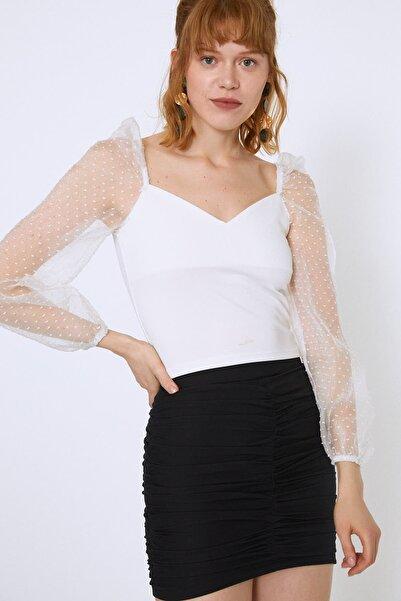 Quzu Kadın Ekru  Kolları Tüllü Crop Bluz 20Y22255-002