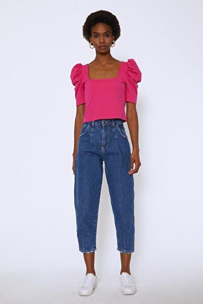 Quzu Kadın Yüksek Bel Slouchy Pantolon Mavi 20Y72132-009