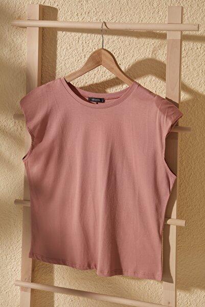 Gül Kurusu Vatkalı Basic Örme T-Shirt TWOSS20TS1553