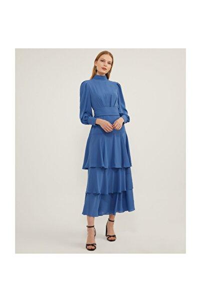 Aker Katlı Menekşe Elbise V43060120