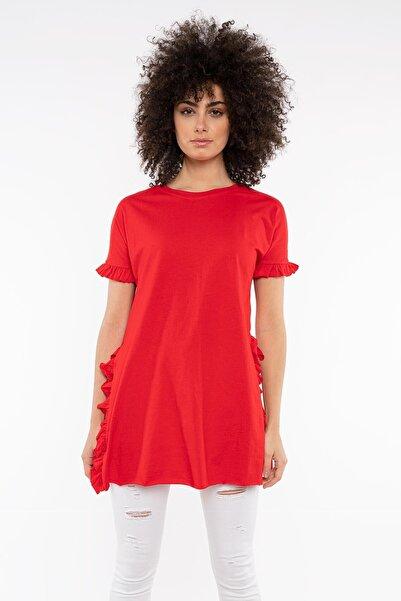 Hadise Kadın Kırmızı Kolu Ve Yanı Fırfırlı Thsirt D6388