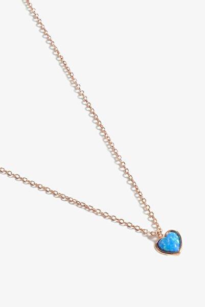 Cuore Blue Opal Taşlı Rose Gold Kolye