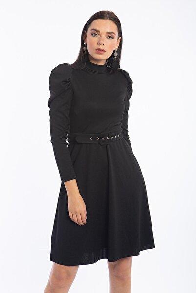 HDS Hadise Balon Kol Kiloş Elbise Siyah