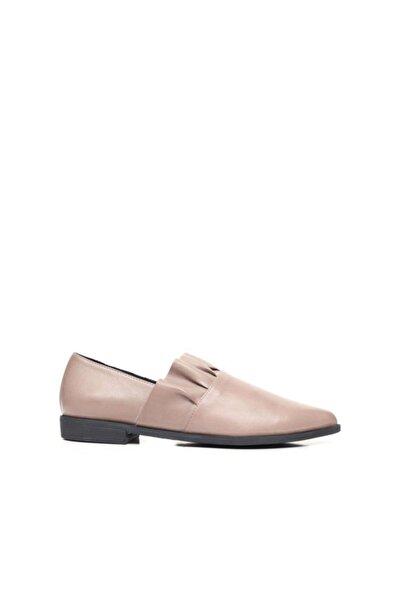 BUENO Shoes Önden Pile Detaylı Hakiki Deri Kadın Düz Ayakkabı 9p0700