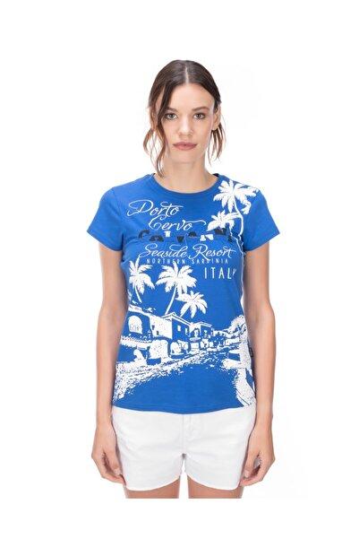 Galvanni Kadın Mavi T-shirt - Curı