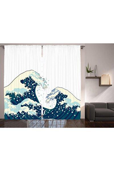 Orange Venue Deniz Ve Okyanus  Geleneksel Japon Çizimli Perde