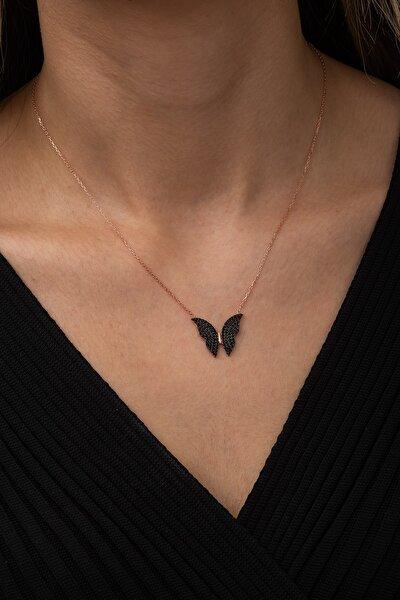 Nereze 925 Ayar Siyah Kelebek Kolye Kadın Gümüş Kolye