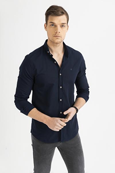 Erkek Lacivert Düz Düğmeli Yaka Slim Fit Uzun Kol Vual Gömlek A01S2206