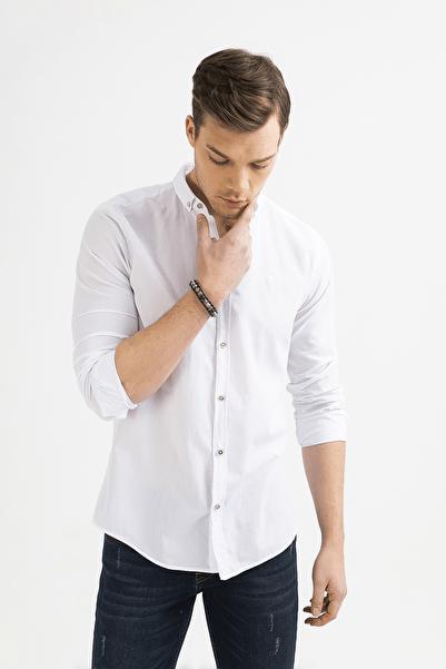 Erkek Beyaz Düz Düğmeli Yaka Slim Fit Uzun Kol Vual Gömlek A01S2206