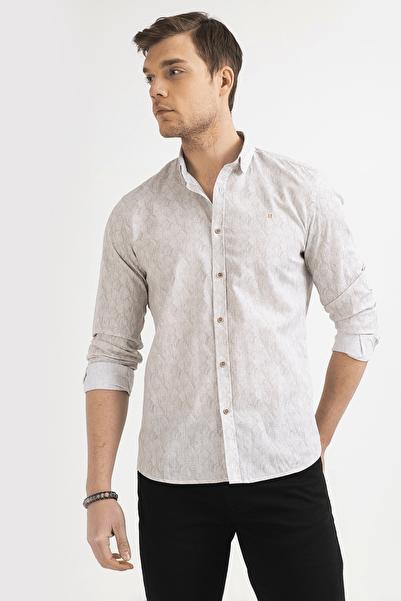 Erkek Bej Baskılı Alttan Britli Yaka Slim Fit Gömlek A01Y2008