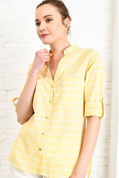 Kadın Sarı Hakim Yaka Çift Cep Poplın Gömlek DNZ-3148-REW