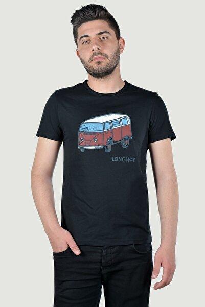Terapi Men Erkek Bisiklet Yaka Baskılı T-Shirt 20K-3400626 Siyah