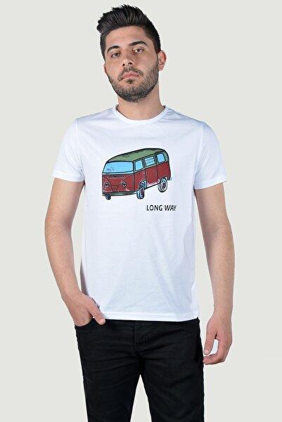 Terapi Men Erkek Bisiklet Yaka Baskılı T-Shirt 20K-3400623 Beyaz