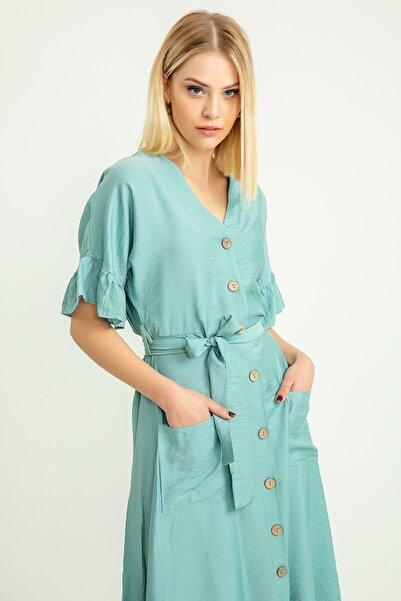 Foremia Kadın Mint Aerobin Düğmeli Kol Detay Elbise 19Y421-001