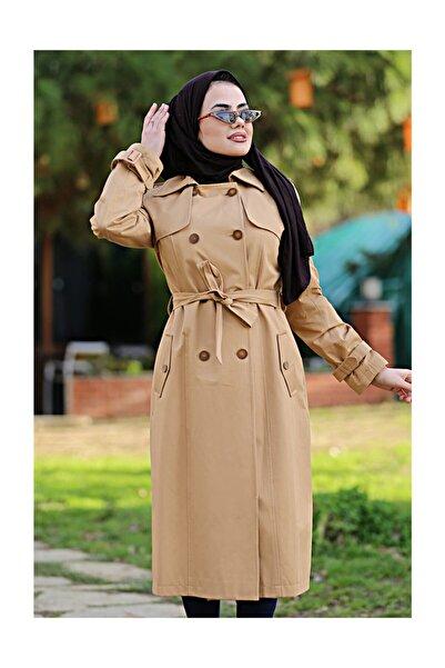 Kadın Camel Çift Sira Düğme Detayli Trençkot - 7010