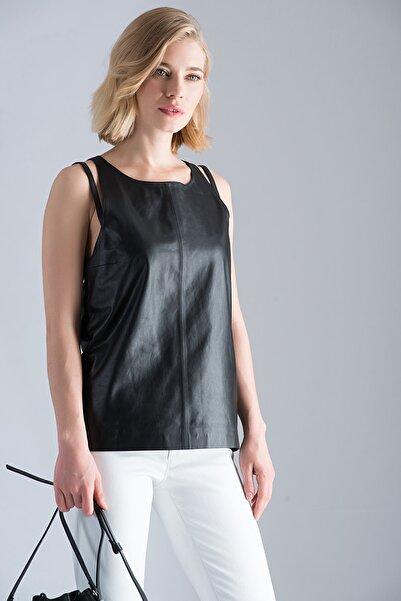 Vespucci by VSP Hakiki Deri Halter Yakalı Siyah Bluz